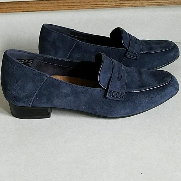 36b379e8b68 Clarks Shoes - Clarks Artisan Keesha Cora Blue Suede Penny Loafer
